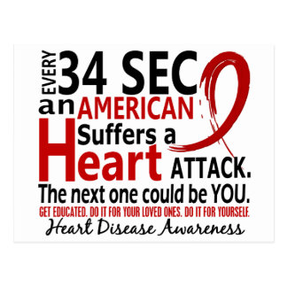 Every 34 Seconds Heart Disease Attack Postcard
