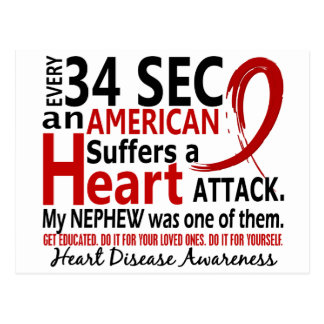 Every 34 Seconds Nephew Heart Disease / Attack Post Card