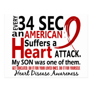 Every 34 Seconds Son Heart Disease / Attack Postcard