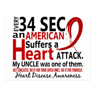 Every 34 Seconds Uncle Heart Disease / Attack Postcard