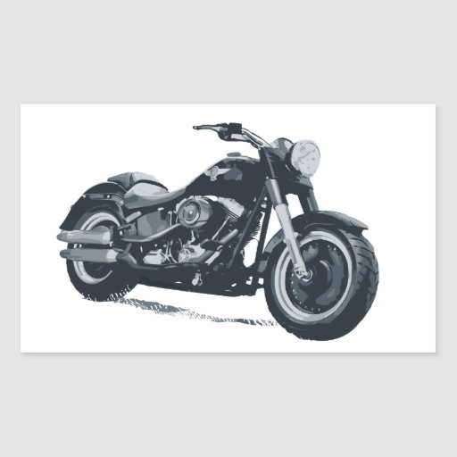 Every Boy loves a Fat Blue American Motorcycle Rectangle Sticker
