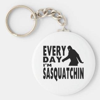 Every Day I'm Sasquatchin Basic Round Button Key Ring