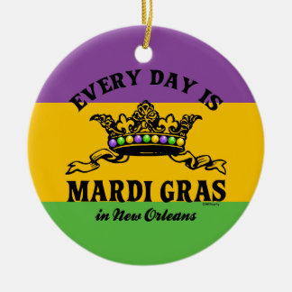 Every Day is Mardi Gras Round Ceramic Decoration