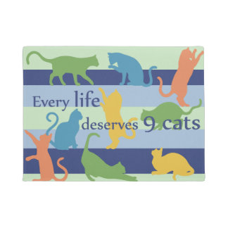 Every Life Deserves 9 Cats Funny Cat Humor Doormat