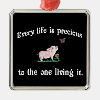 Every Life is precious Cute Pig Christmas Ornament
