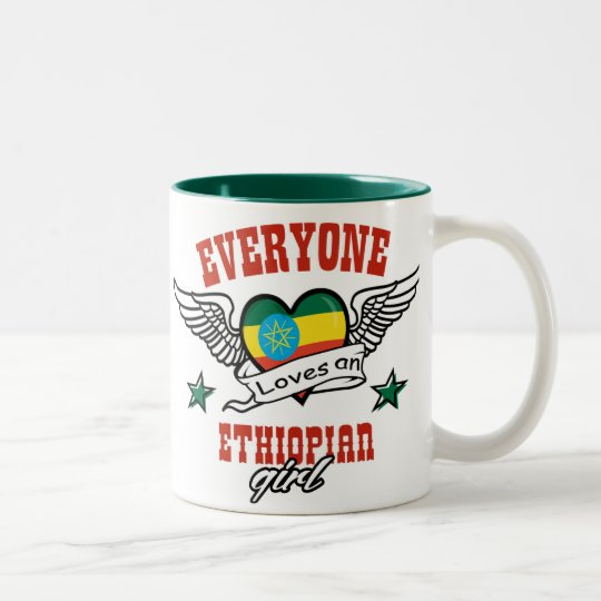 Every one loves an Ethiopian girl Two-Tone Coffee Mug