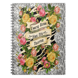 Every Rose Has it Thorns on Cloud Doodle Notebooks