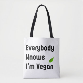 Everybody knows I'm vegan Tote