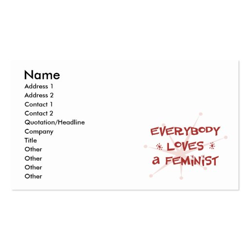 Everybody Loves A Feminist Business Card Templates