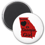 Everybody Loves a Georgia Girl Red and Black Refrigerator Magnet