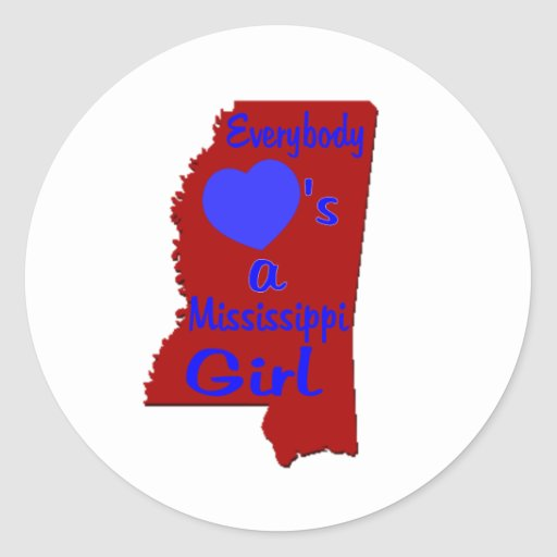 Everybody Loves a Mississippi Girl Crimson and Blu Round Stickers