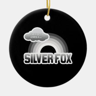 Everybody Loves a Silver Fox Round Ceramic Decoration
