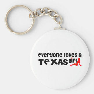 Everybody loves a Texas Girl Basic Round Button Key Ring
