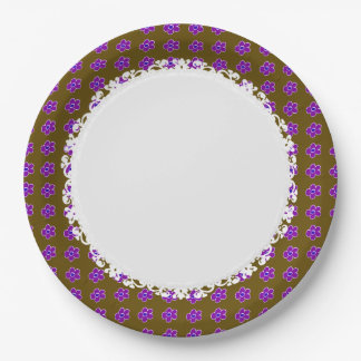 Everyday-Daisy-Dinner-Ware(c) Brown_Lavender Paper Plate