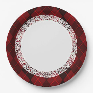 Everyday_Dinner_Paper-Plates(c)Jewel-Red-Argyle 9 Inch Paper Plate