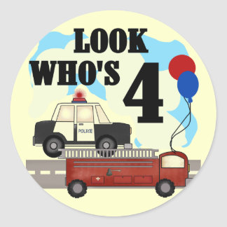 Everyday Heroes 4th Birthday Classic Round Sticker
