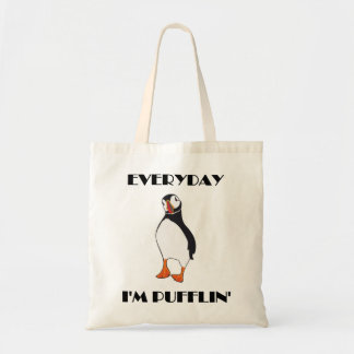 Everyday I'm Pufflin Puffin Bird Tote Bag