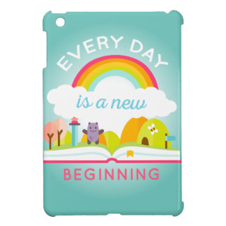 Everyday is a new beginning cute rainbow iPad mini covers