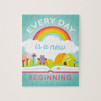 Everyday is a new beginning cute rainbow puzzles
