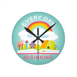 Everyday is a new beginning cute rainbow wall clocks