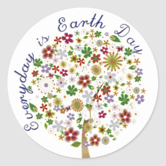 Everyday is earth day round sticker