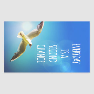Everyday Second Chance Seagull Inspirational Quote Rectangular Sticker