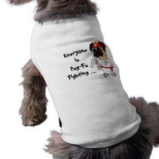 Everyone is Pug-Fu Fighting Karate Pug Sleeveless Dog Shirt