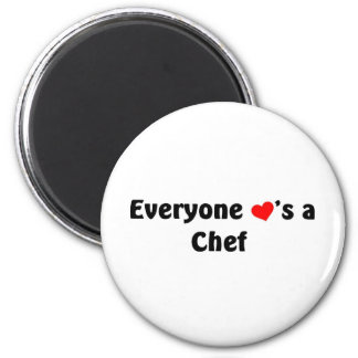 Everyone loves a chef 6 cm round magnet