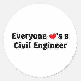 Everyone loves a Civil Engineer Round Sticker