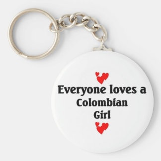 Everyone loves a Colombian Girl Basic Round Button Key Ring