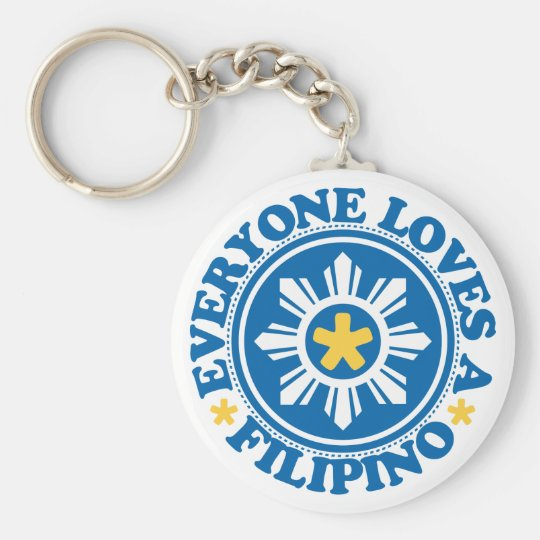 Everyone Loves a Filipino - Blue Basic Round Button Key Ring