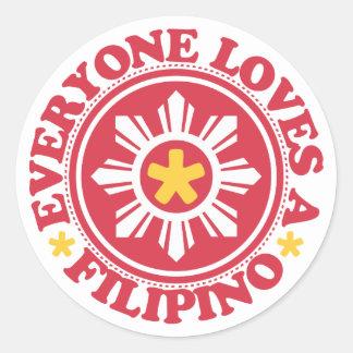 Everyone Loves a Filipino - Red Round Sticker
