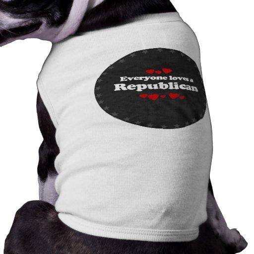 Everyone loves a Republican  (white) Doggie Tee Shirt