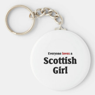Everyone loves a Scottish Girl Basic Round Button Key Ring