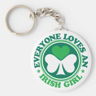 Everyone Loves an Irish Girl Basic Round Button Key Ring