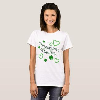 Everyone Loves an Irish Girl Shamrocks and Hearts T-Shirt