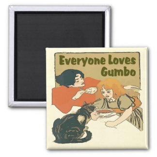 Everyone Loves Gumbo, Vintage girl and cat poster, Square Magnet