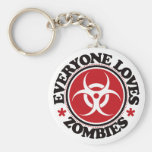 Everyone Loves Zombies - Red Keychains