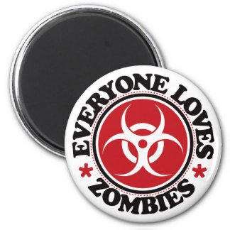 Everyone Loves Zombies - Red Refrigerator Magnet