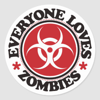 Everyone Loves Zombies - Red Round Stickers