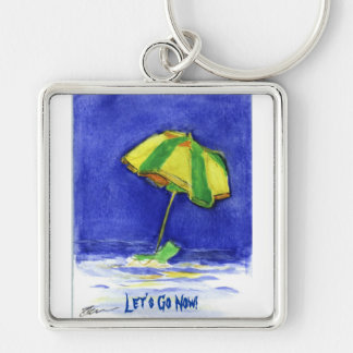 Everyone Needs A Beach Silver-Colored Square Key Ring