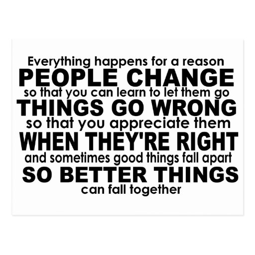 Everything Happens for a Reason Inspirational Postcards