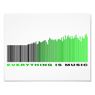 Everything is music barcode green equalizer text art photo