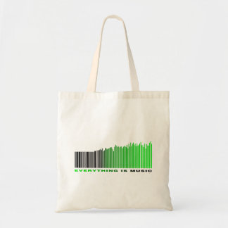 Everything is music barcode green equalizer text budget tote bag