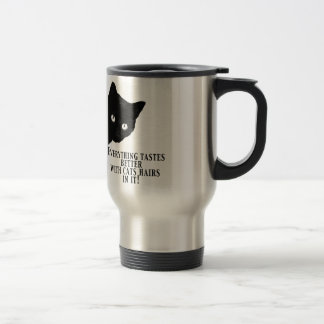 Everything tastes better with cats hairs in it stainless steel travel mug