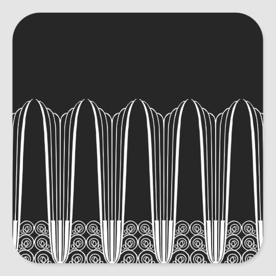 EVE'S BALCONY, Art Deco Ironwork in White on Black Square Sticker