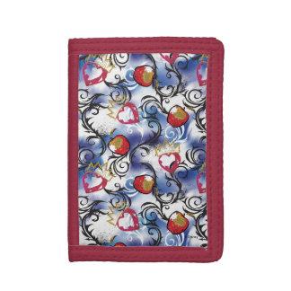 Evie Apple Logo Pattern Tri-fold Wallet