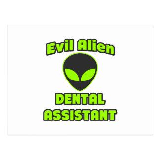 Evil Alien Dental Assistant Postcard
