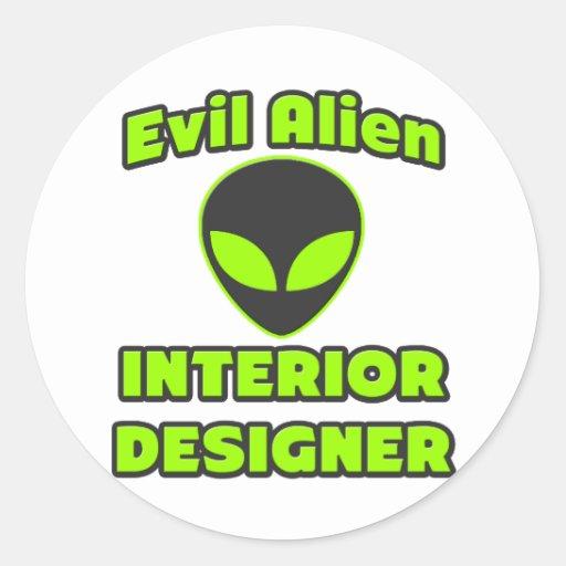 Evil Alien Interior Designer Round Sticker