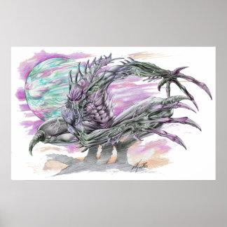 Evil Alien Monster Futuristic Sci-Fi by Al Rio Poster